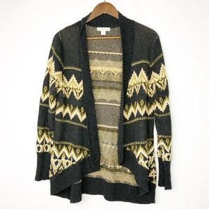 COLDWATER CREEK Black/Tan Open Cardigan EUC- Large
